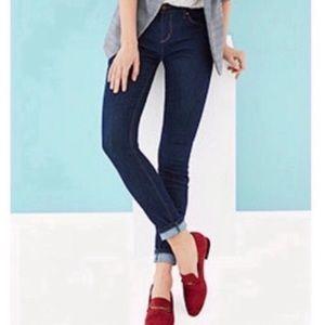 LOFT Petite Slim Leg Boyfriend Jeans Dark Wash 00P